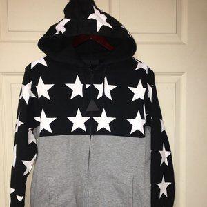 Black Scale Black Star Jacket Hooded New Medium